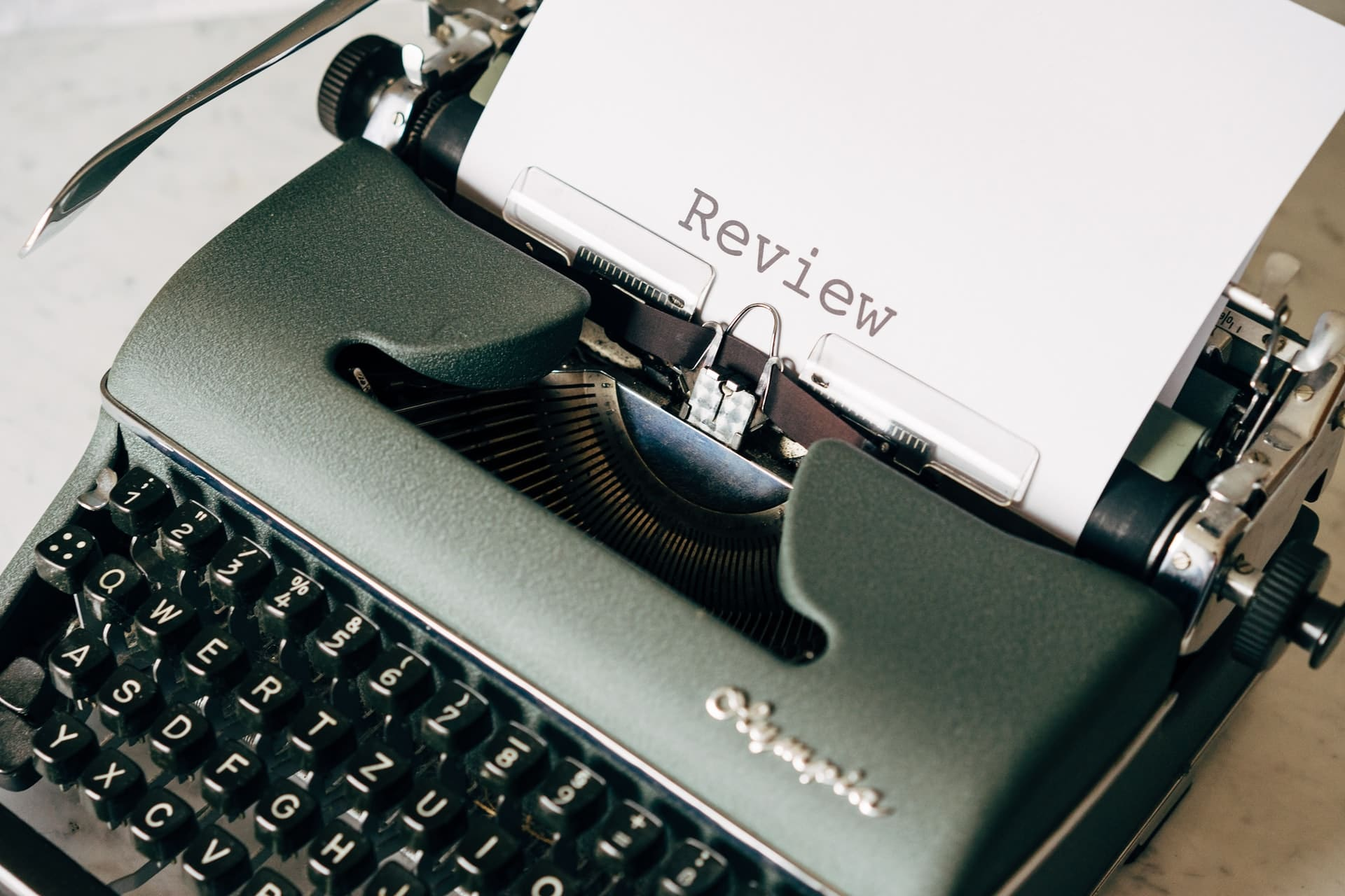Year in review. Typewriter with the word 'review'