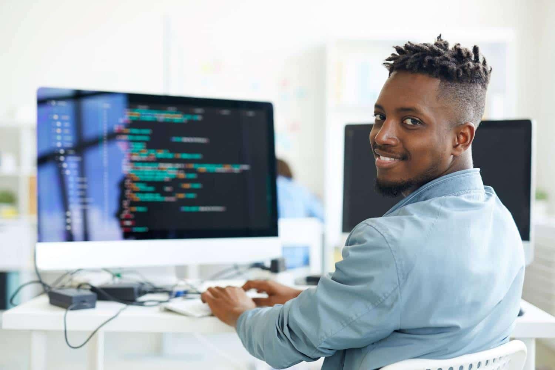 Developer on laptop