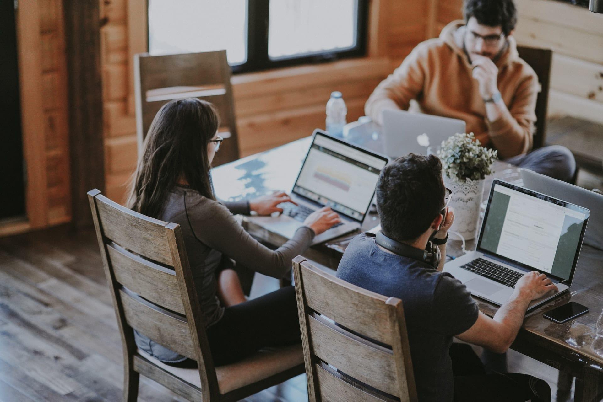 Group using laptops