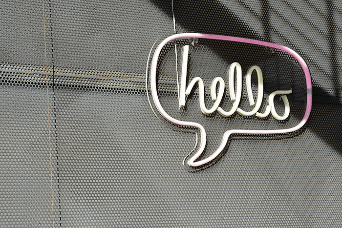 A hello sign - contact us