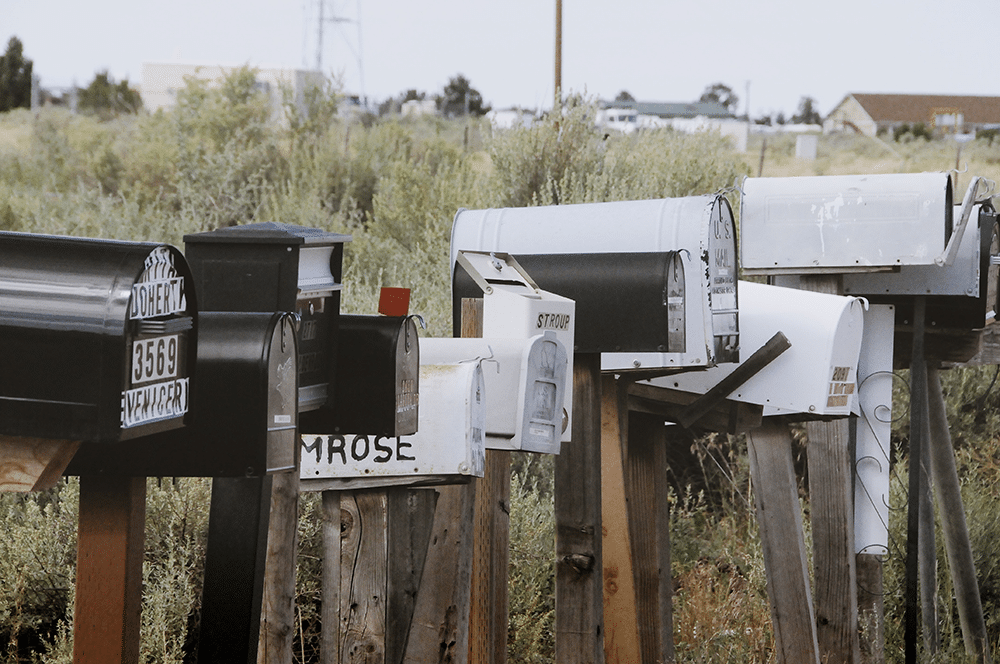 Postboxes representing our newsletters and opt-in emails
